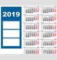 quarterly wall calendar for 2019 grid template vector image vector image