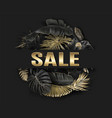 sale banner with gold tropical leaves vector image vector image