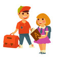 school boy and girl children rucksacks and vector image vector image