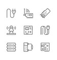 set line icons computer components vector image