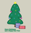 simple drawn christmas card in flat retro style vector image vector image
