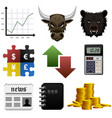stock share market finance money icon a set of vector image