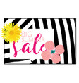 summer sale with flowers and zebra background vector image vector image