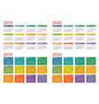 template calendar 2019 2020 week starts on vector image vector image