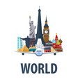 travel emblem around the world vacation trip to vector image vector image