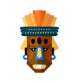 ugly terrible african mask isolated on white vector image vector image