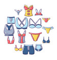 underwear types icons set cartoon style vector image vector image