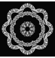 White flower zentangle style pattern on black vector image