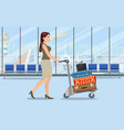 woman with luggage trolley in airport vector image vector image