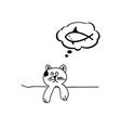 cat dream fish cartoon vector image
