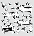stickers set with cute boars collection with wild vector image