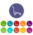 airport trolley icons set color vector image