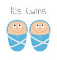 baby shower card its twins boy cute cartoon vector image vector image