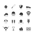 Baseball Icons Set Black vector image vector image