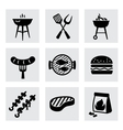 black barbecue icons set on gray vector image vector image