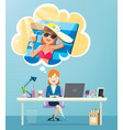businesswoman working and thinking about vacation vector image