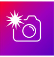 camera icon with flash on the colored background vector image vector image