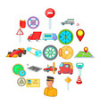 car parking icons set cartoon style vector image vector image