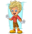 Cartoon cute little blond boy with good eyes vector image vector image
