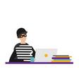 cartoon hacker with laptop vector image