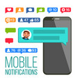chat notification mobile phone messages vector image vector image