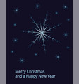 christmas card with big snowflake on dark sky and vector image