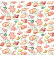 colored sketch poultry meat seamless pattern vector image