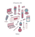 cosmetics set with bottles lacquer lipstick cream vector image