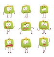 cute green humanized purse with funny faces set of vector image vector image