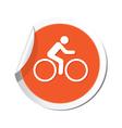 cyclist symbol orange tag vector image vector image
