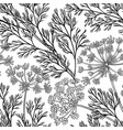 dill plant pattern on white background vector image vector image