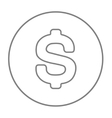 Dollar symbol line icon vector image vector image