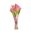 flowers bouquet tulips design element vector image