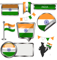 Glossy icons with Indian flag vector image vector image