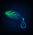 glowing low polygonal herb leaf with water droplet vector image