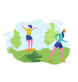group people performing sports activities vector image vector image