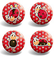 Ladybug on red badges vector image