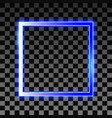 neon vintage frame glowing blue rectangle vector image vector image