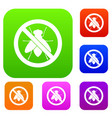 no fly sign set collection vector image vector image