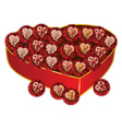 Opened red heart shaped gift box2 vector image vector image