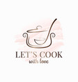 pan with ladle watercolor logo kitchen spoon vector image