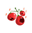 red ripe sweet tomatoes singing song cute vector image vector image