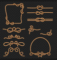 rope border and frames with knots marine vector image vector image