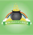 saint patricks with bowl coin and rainbow vector image