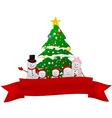 santa claus reindeer and snowman with red ribbon vector image