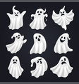 scary white ghost horror set for halloween vector image