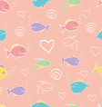 seamless pattern cute cartoon fish vector image