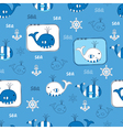 Seamless pattern with whales 3 vector image vector image