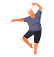 senior character keeping fit physical exercises vector image