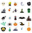 set of halloween related objects and characters vector image